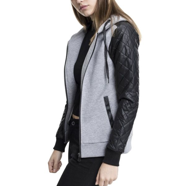 Urban Classics Ladies - DIAMANT Fleece Kunstleder Zip Hoody
