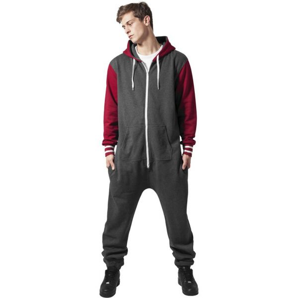 Urban Classics - COLLEGE Jump Suit charcoal / ruby