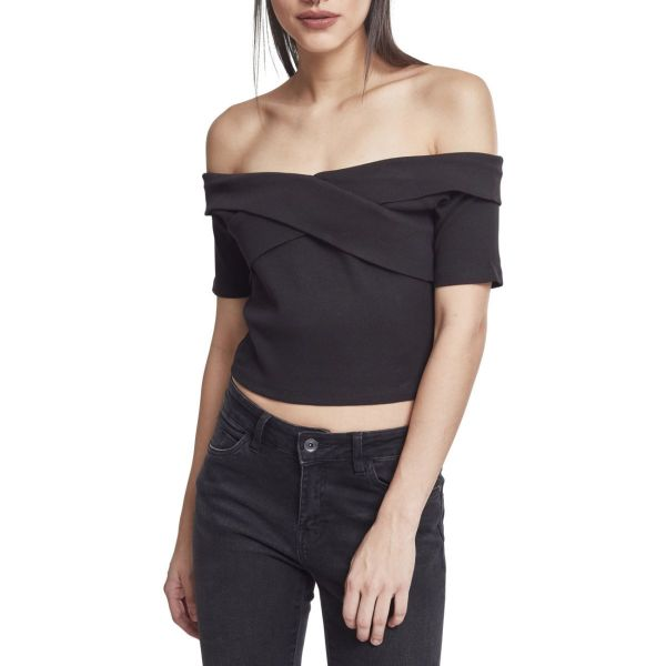 Urban Classics Ladies - Off Shoulder Cross Rip Top