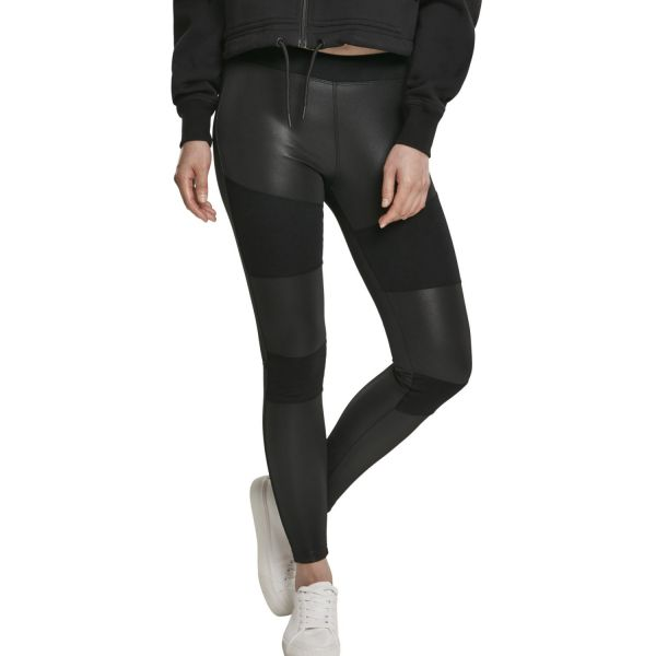 Urban Classics Ladies - Fake Leather Tech Leggings black