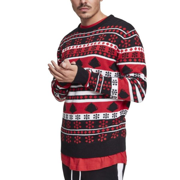 Urban Classics - Snowflake Christmas Sweater vert