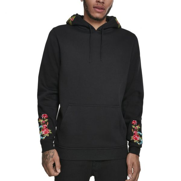 Mister Tee Fleece Hoody - Flowers Embroidery schwarz