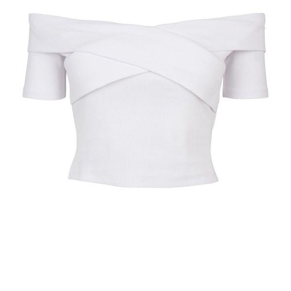 Urban Classics Ladies - Off Shoulder Cross Rip Top
