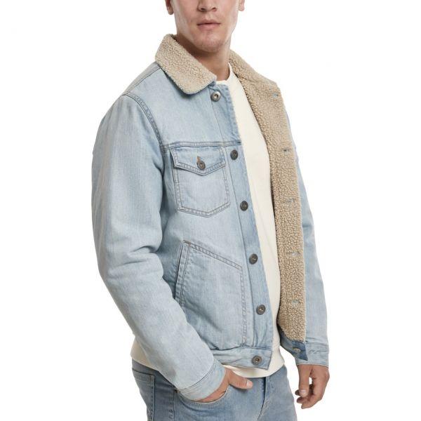 Urban Classics - SHERPA Lined Jeans Veste rinsed denim