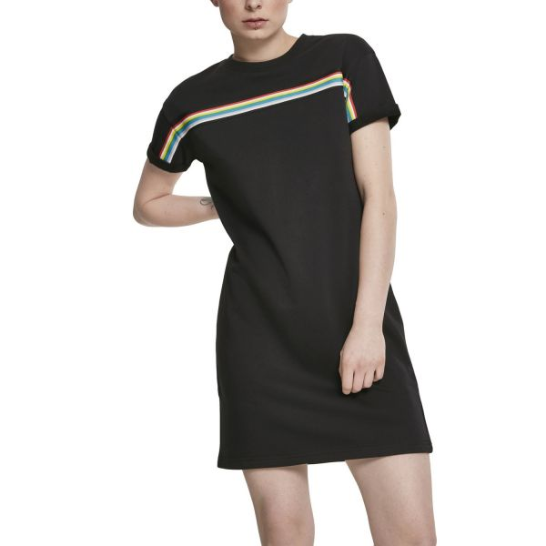 Urban Classics Ladies - Taped Freech Terry Kleid schwarz
