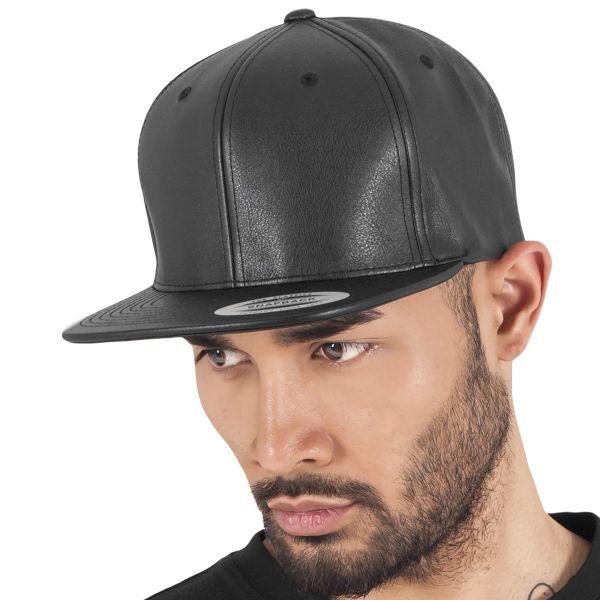 Flexfit Imitation Leather Snapback Cap - black