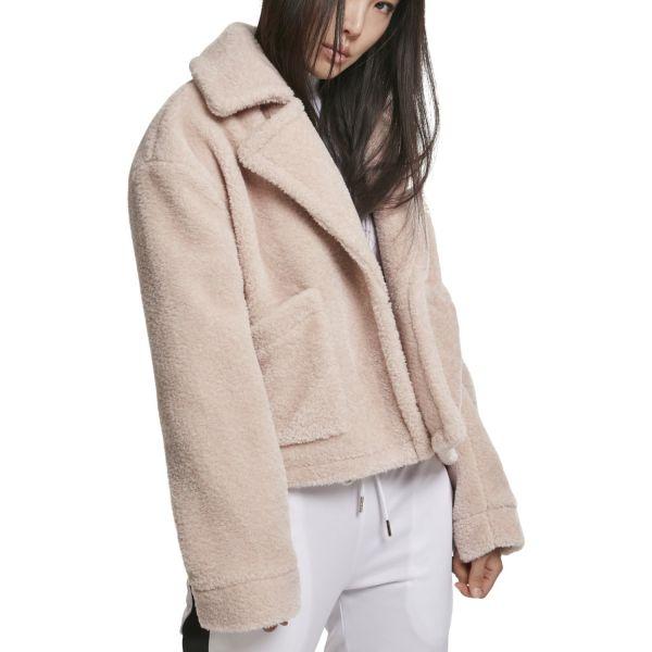 Urban Classics Ladies - Oversize Sherpa Lapel Jacket rose