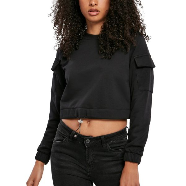 Urban Classics Ladies - WORKER Short Crewneck Sweater
