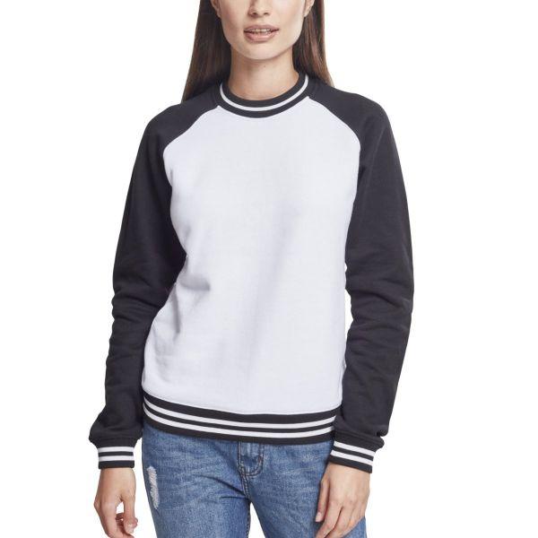Urban Classics Ladies - Contrast College Pullover weiß