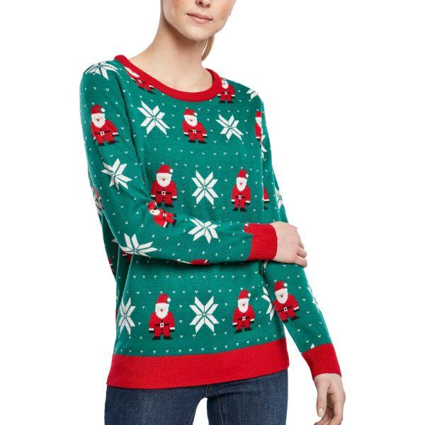 Urban Classics Ladies - Santa Christmas Sweater grün