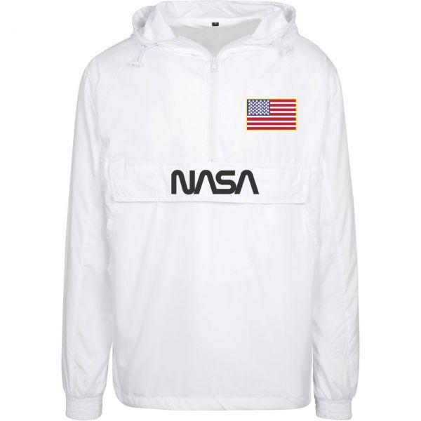 Mister Tee NASA Worm Logo Pull Over Jacke weiß