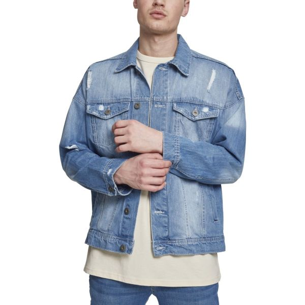 Urban Classics - RIPPED Destroyed Denim Jeans Jacke
