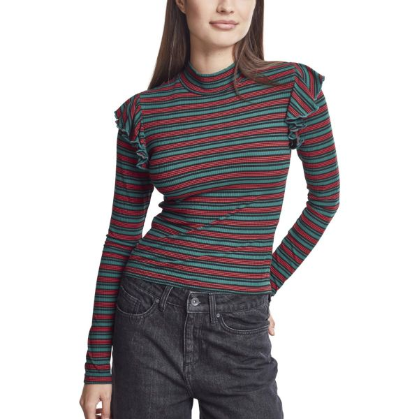 Urban Classics Ladies - Striped Volant Turtleneck Longsleeve
