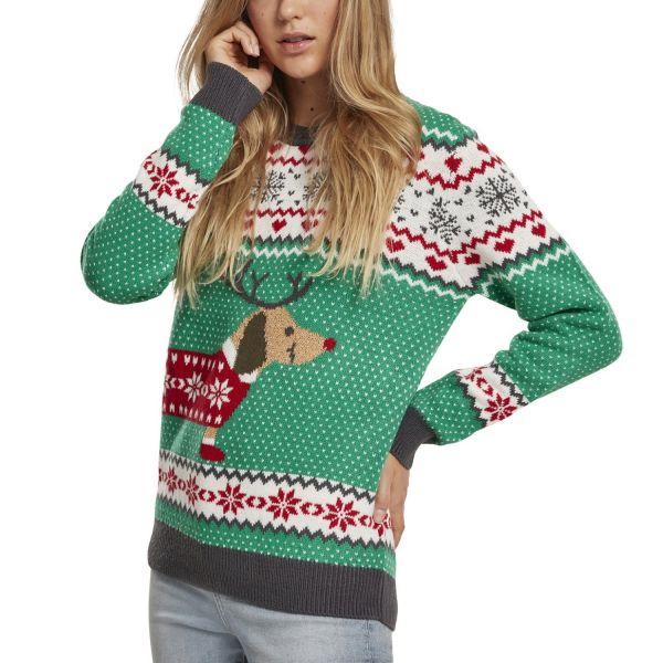 Urban Classics Ladies - Sausage Dog Christmas Sweater green