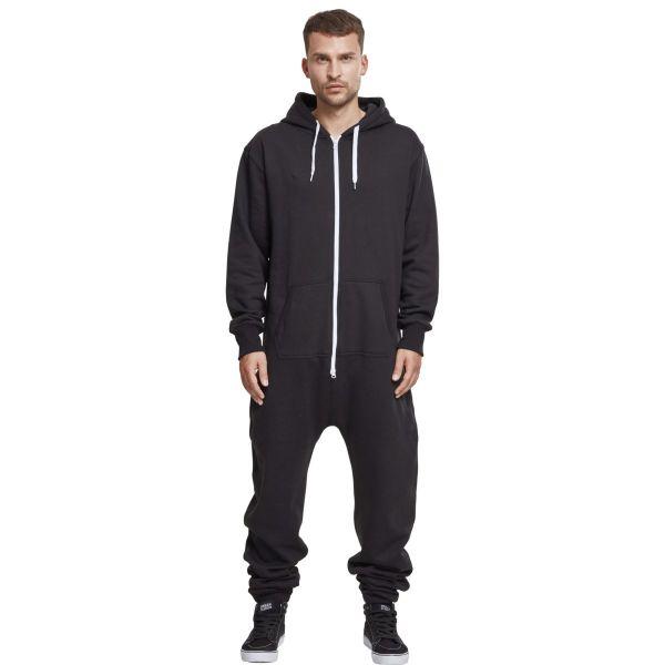 Urban Classics - SWEAT Jump Suit black / white