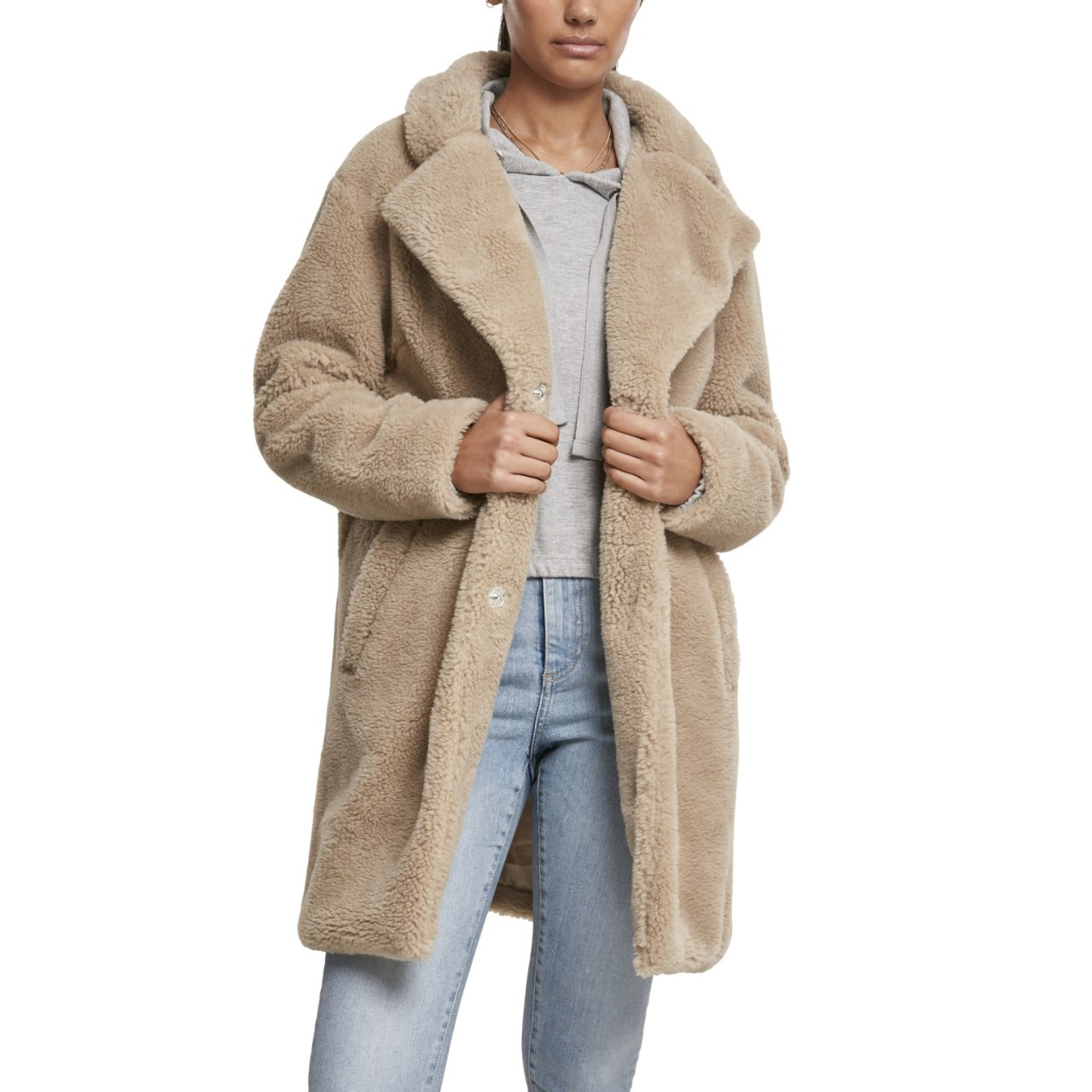 Urban Classics Ladies OVERSIZED SHERPA Coat olive