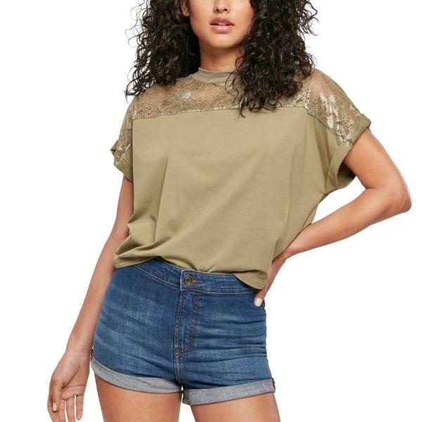 Urban Classics Ladies - Short Oversized Lace Top noir