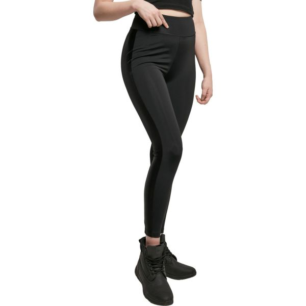 Urban Classics Ladies - Highwaist Shiny Stripe Leggings
