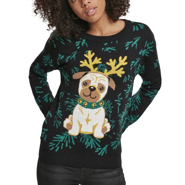 Urban Classics Ladies - Pug Christmas Sweater black