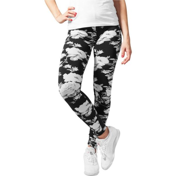 Urban Classics Ladies - FLOWER Leggings schwarz