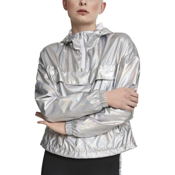 Urban Classics Ladies - PULL OVER Holographic Jacke silber