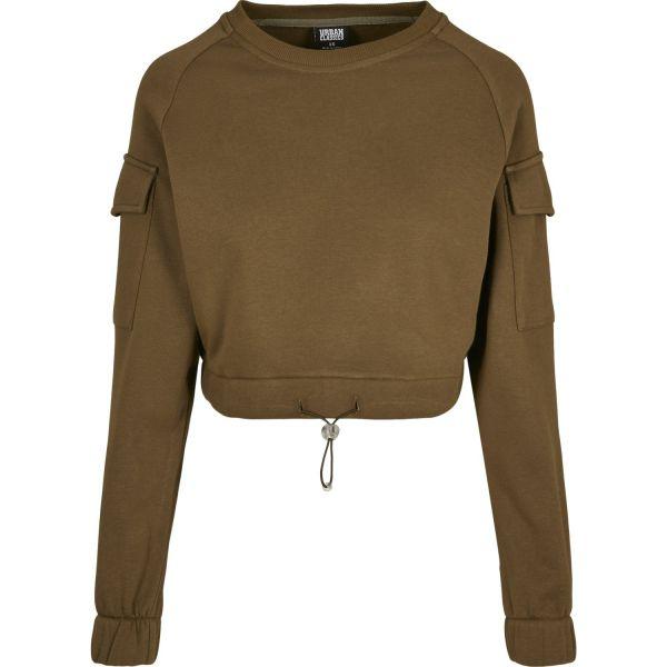Urban Classics Ladies - WORKER Short Crewneck Sweater