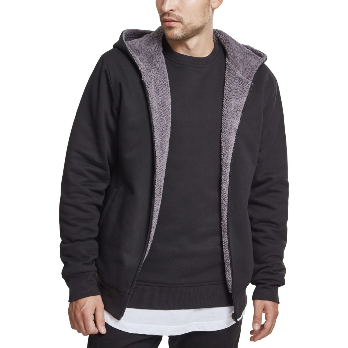 Winter Sherpa Lined Fleece Zip Hoody Urban Classics