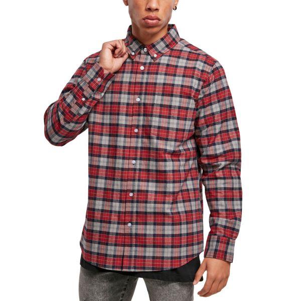 Urban Classics - Plaid Cotton Hemd grau / rot