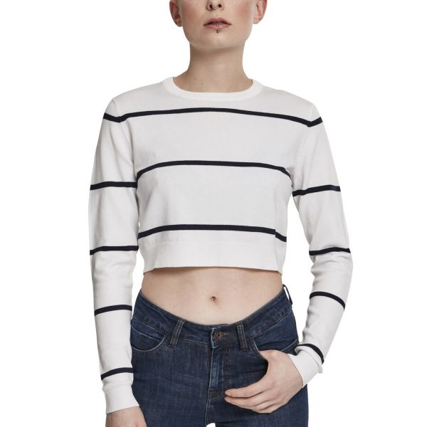 Urban Classics Ladies - STRIPED Short Sweater weiß