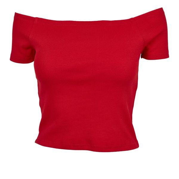 Urban Classics Ladies - Off Shoulder Rib Top trägerlos