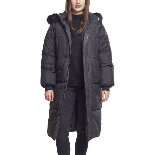 Urban Classics Ladies - Oversized Faux Fur Puffer Coat black