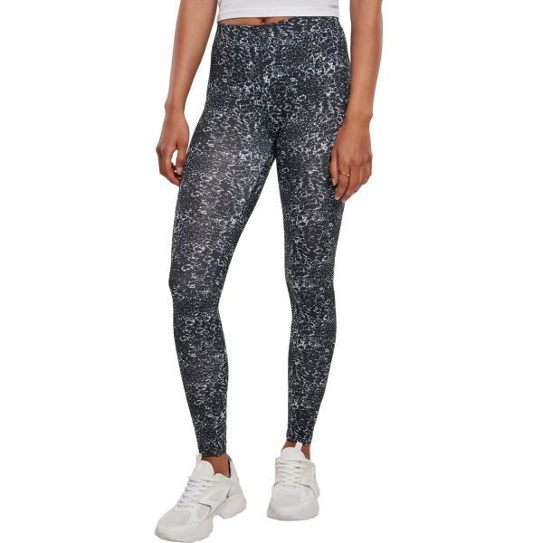 Urban Classics Ladies - All-Over-Pring Leggings schwarz