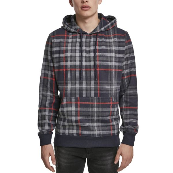 Urban Classics - AOP Check Fleece Hoody navy / rot