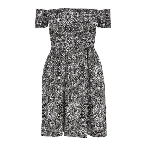 Urban Classics Ladies - Smoked Off Shoulder Sommer Kleid