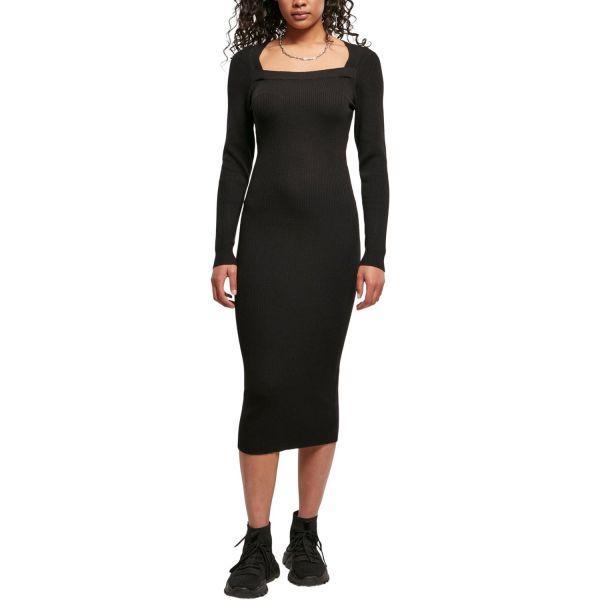 Urban Classics Ladies - Long Knit Strick Kleid schwarz