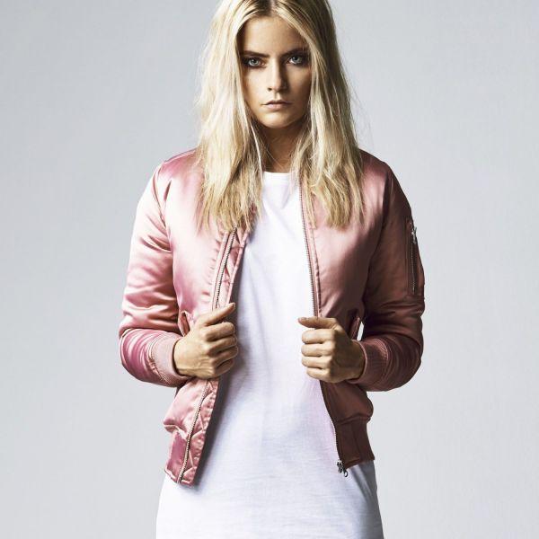 Urban Classics Ladies - SATIN BOMBER Jacket silver