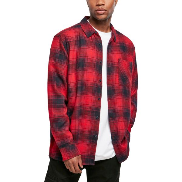 Urban Classics - CHECKED FLANELL Grunge Hemd rot