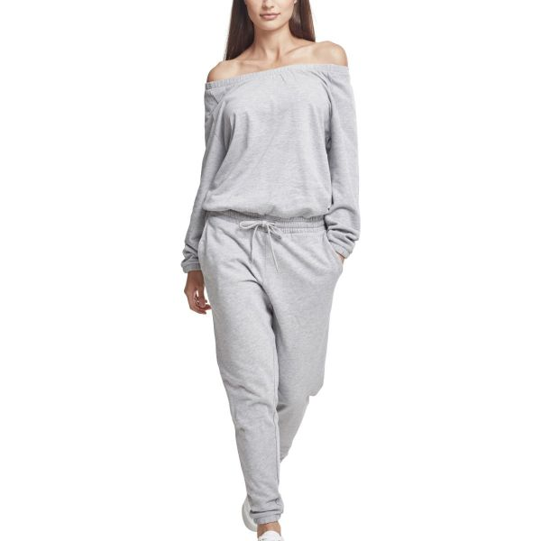 Urban Classics Ladies - Cold Shoulder Terry Jumpsuit gris