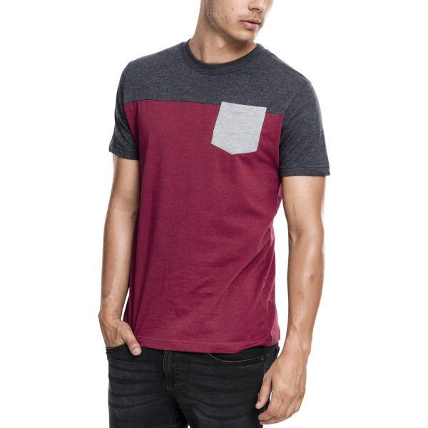 Urban Classics - 3-TONE Pocket T-Shirt burgundy