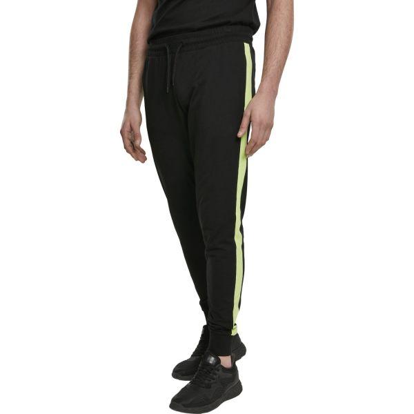 Urban Classics - Neon Striped Sweatpants schwarz / lime
