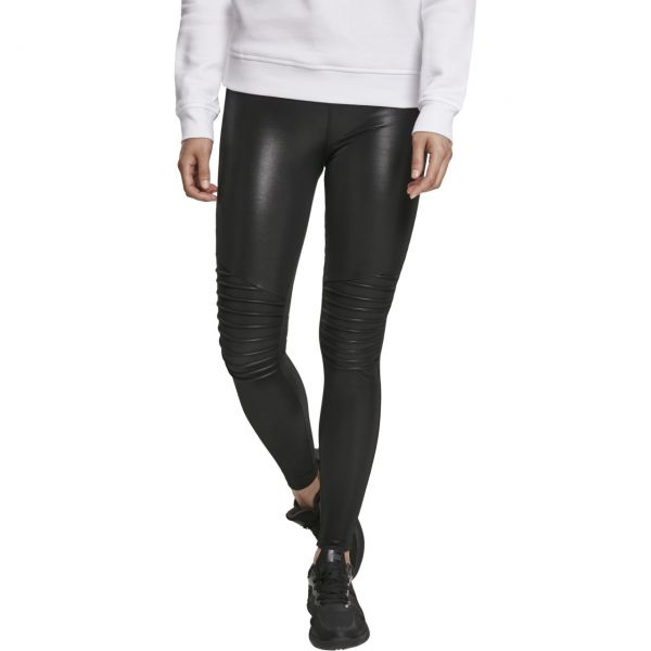 Urban Classics Ladies - BIKER Lederimitat Leggings schwarz