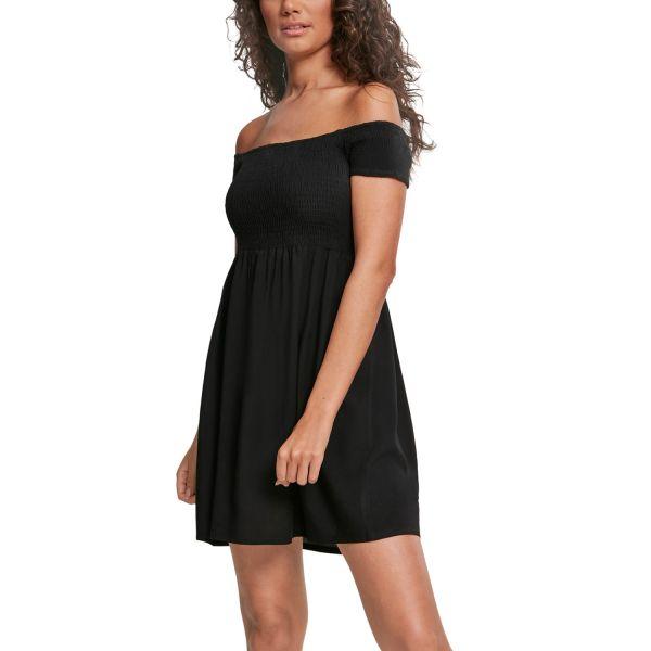 Urban Classics Ladies - Smoked Off Shoulder Robe noir