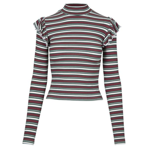 Urban Classics Ladies - Striped Volant Turtleneck Longsleeve