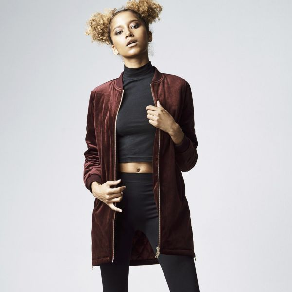 Urban Classics Ladies - LONG VELVET Jacket burgundy