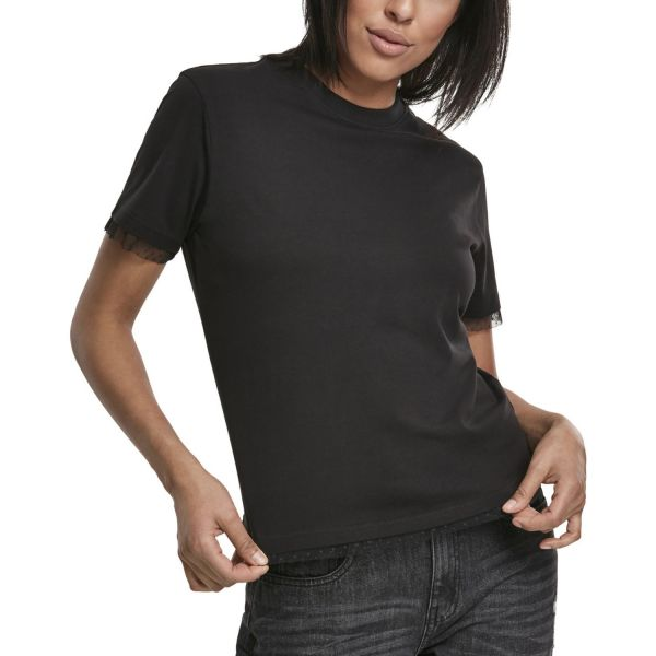 Urban Classics Ladies - Boxy Lace Hem Top Shirt