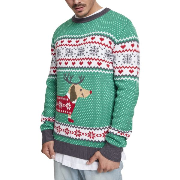 Urban Classics - Sausage Dog Christmas Sweater grün