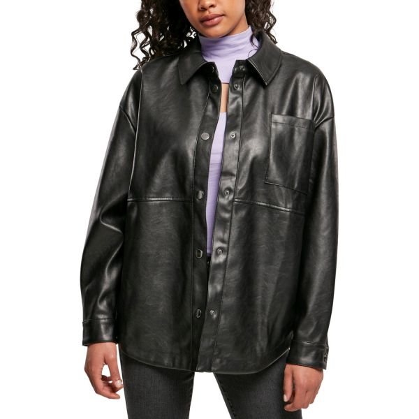Urban Classics Ladies - Kunstleder Overshirt Hemd Jacke