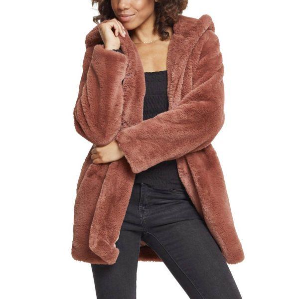 Urban Classics Ladies - Hooded Teddy Coat black