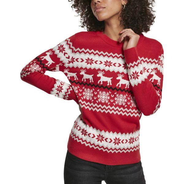 Urban Classics Ladies - Norwegian Christmas Sweater rouge