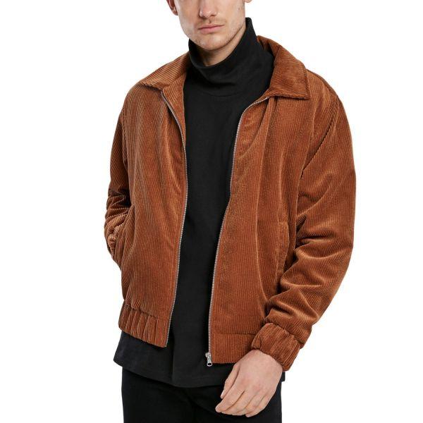 Urban Classics - Boxy Veste en velours côtelé brun